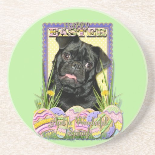 Easter Egg Cookies - Pug - Ruffy Drink Coaster