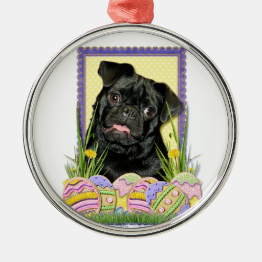 Easter Egg Cookies - Pug - Ruffy Round Metal Christmas Ornament