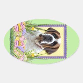 Easter Egg Cookies - Saint Bernard Oval Sticker