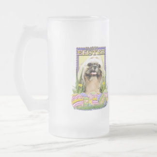 Easter Egg Cookies - Shih Tzu - Opal Frosted Glass Beer Mug