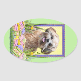 Easter Egg Cookies - ShihPoo Oval Stickers