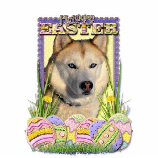 Easter Egg Cookies - Siberian Husky Copper Standing Photo Sculpture