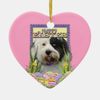 Easter Egg Cookies - Tibetan Terrier Double-Sided Heart Ceramic Christmas Ornament