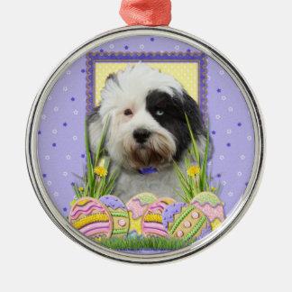 Easter Egg Cookies - Tibetan Terrier Round Metal Christmas Ornament