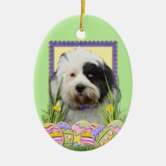 Easter Egg Cookies - Tibetan Terrier Double-Sided Oval Ceramic Christmas Ornament