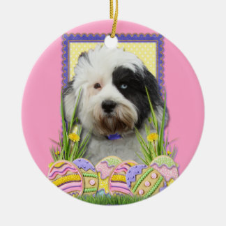 Easter Egg Cookies - Tibetan Terrier Double-Sided Ceramic Round Christmas Ornament