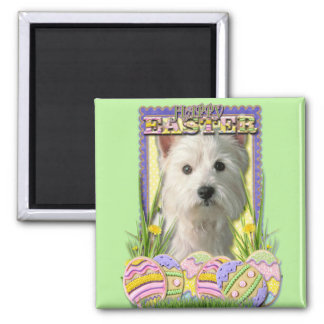 Easter Egg Cookies - West Highland Terrier 2 Inch Square Magnet