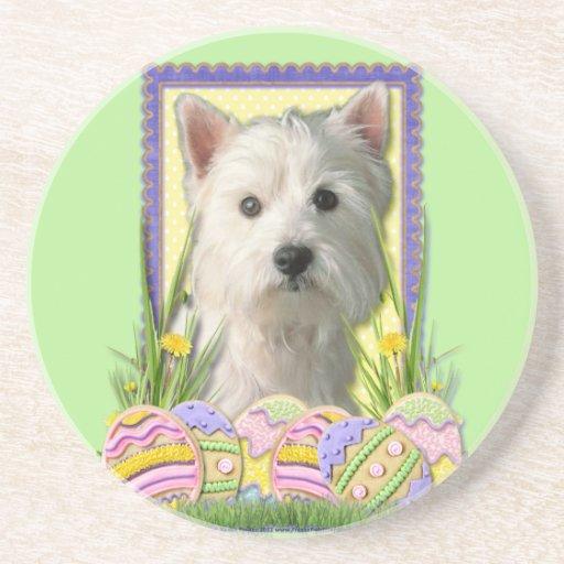 Easter Egg Cookies - West Highland Terrier Beverage Coaster