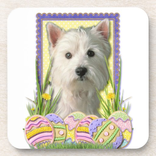 Easter Egg Cookies - West Highland Terrier Beverage Coasters