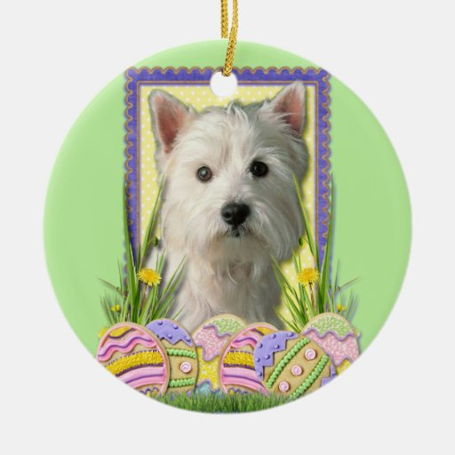Easter Egg Cookies - West Highland Terrier Double-Sided Ceramic Round Christmas Ornament