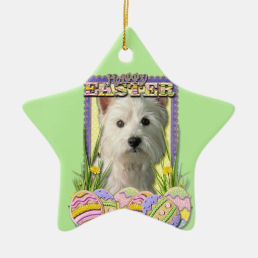 Easter Egg Cookies - West Highland Terrier Double-Sided Star Ceramic Christmas Ornament