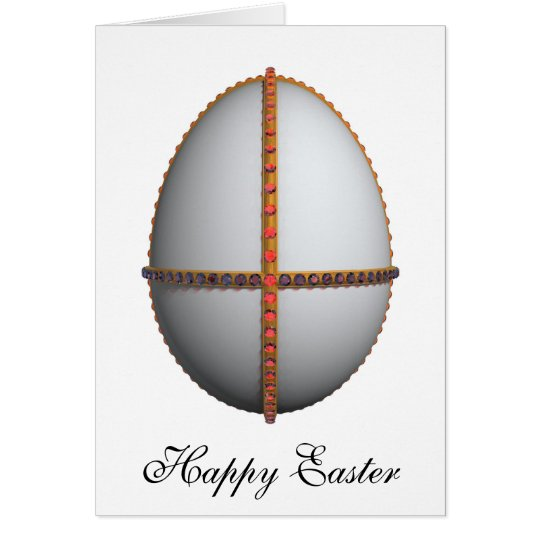 easter egg cross with gold and rubies card