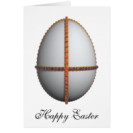 easter egg cross with gold and rubies greeting card