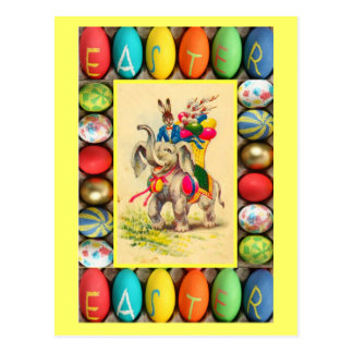 Easter - Egg delivery by elephant Postcard