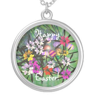 Easter Egg Garden Round Pendant Necklace