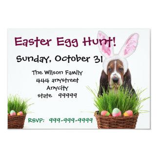 Easter Egg Hunt Basset Hound party invitation