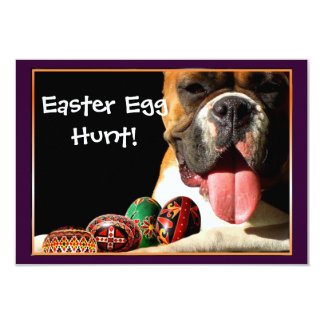 Easter Egg Hunt Boxer Dog invitation
