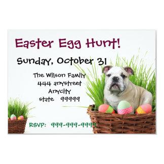 Easter Egg Hunt Bulldog party invitation