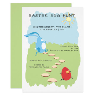Easter Egg Hunt Bunny and Egg Personalized Card