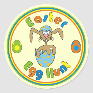 Easter Egg Hunt Bunny in Blue Egg Round Stickers