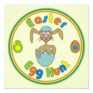 Easter Egg Hunt Bunny in Egg Colorful Invitations