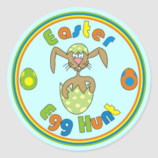 Easter Egg Hunt Bunny in Green Egg Round Stickers