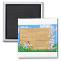Easter Egg Hunt Bunny Rabbit Background Magnet