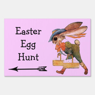 Easter Egg Hunt Cute Bunny Rabbit Arrow Direction Yard Sign