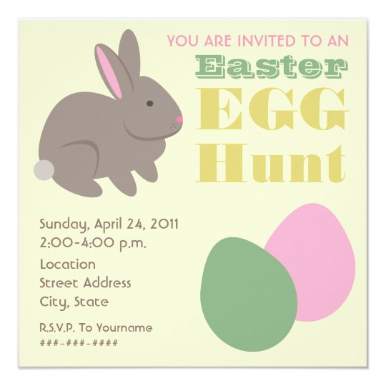 Easter Egg Hunt - Gray Bunny Card