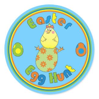 Easter Egg Hunt Hen on Green Egg Round Stickers