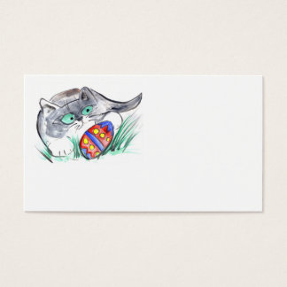 Easter Egg Hunt – Kitten has found a decorated Egg Business Card