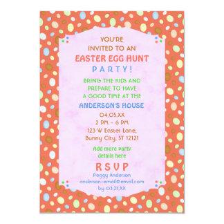 Easter Egg Hunt Party Elegant Retro Coral Pink 5x7 Paper Invitation Card