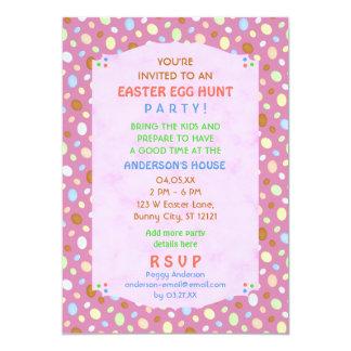 Easter Egg Hunt Party Elegant Retro Pink Purple 5x7 Paper Invitation Card