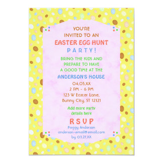 Easter Egg Hunt Party Elegant Retro Pink Yellow 5x7 Paper Invitation Card