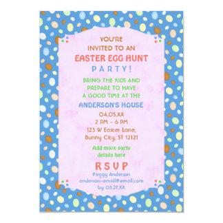 Easter Egg Hunt Party Elegant Retro Pretty Blue 5x7 Paper Invitation Card