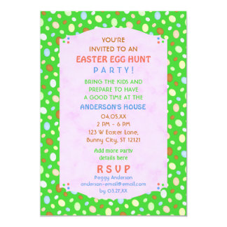 Easter Egg Hunt Party Elegant Retro Pretty Green 5x7 Paper Invitation Card