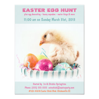 Easter Egg Hunt Party with Chick in Egg Basket 4.25x5.5 Paper Invitation Card