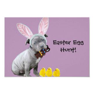 Easter Egg Hunt Pitbull puppy invitations
