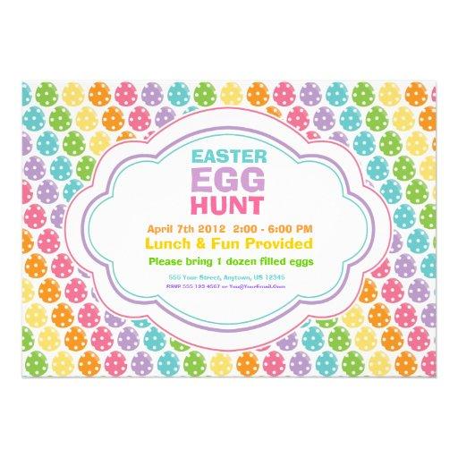 Easter Egg Hunt Rainbow Invitations (front side)