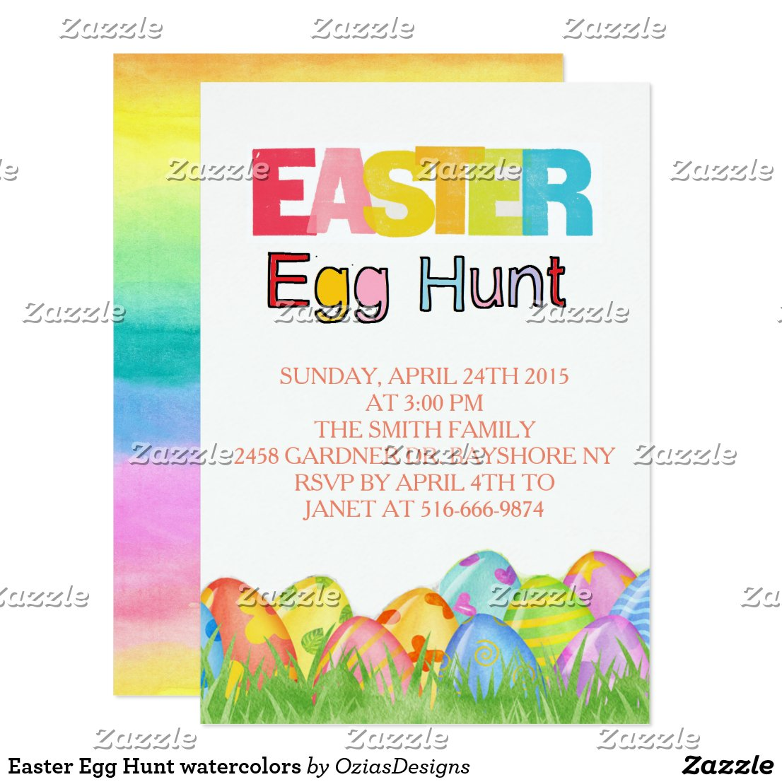 Easter Egg Hunt watercolors Card