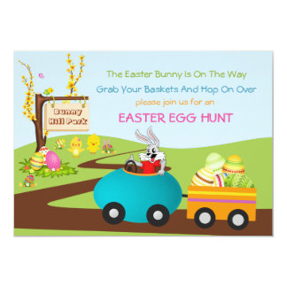 Easter Egg Hunt with Easter Bunny and Egg Cart Card