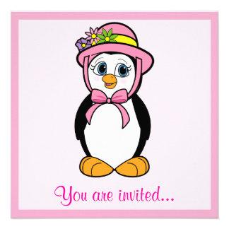 Easter Egg Hunt with Penguin in Easter Bonnet Custom Invite