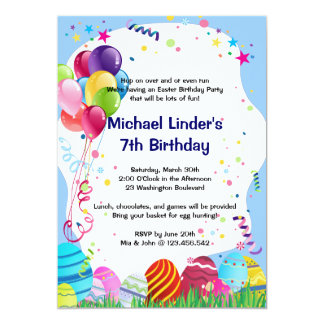 Easter Egg Hunting Birthday Party Blue 5x7 Paper Invitation Card