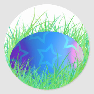 Easter Egg in Grass Stickers/Envelope Seals Classic Round Sticker