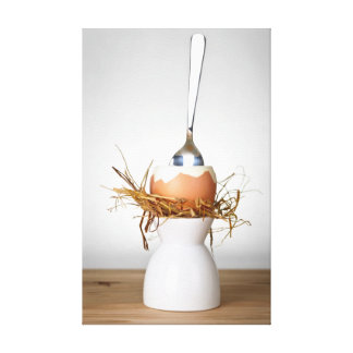 Easter Egg In Hay Nest On White Stand Canvas Print