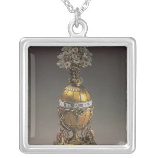 Easter Egg in the Form of a Vase Silver Plated Necklace