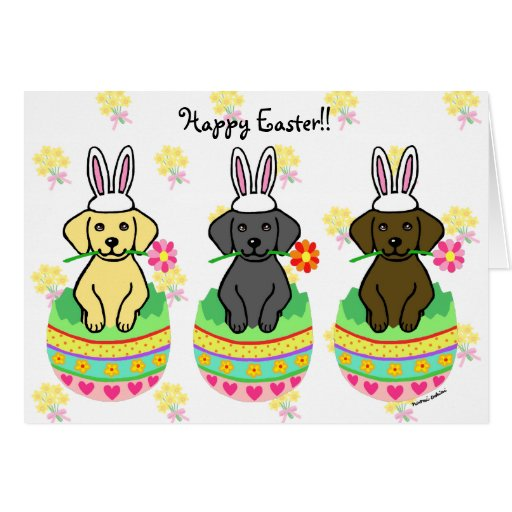Easter Egg Lab Puppies Cartoon Card