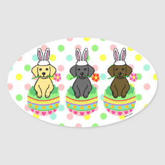 Easter Egg Lab Puppies Cartoon Oval Sticker