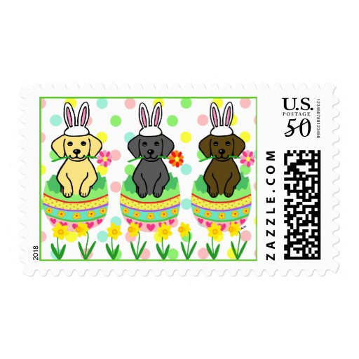 Easter Egg Lab Puppies Cartoon Postage