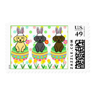 Easter Egg Lab Puppies Cartoon Stamp